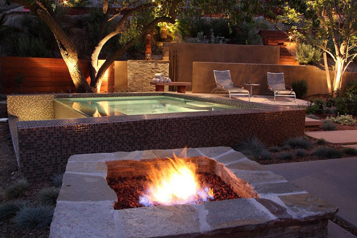 saltwater spool and firepit formla landscaping