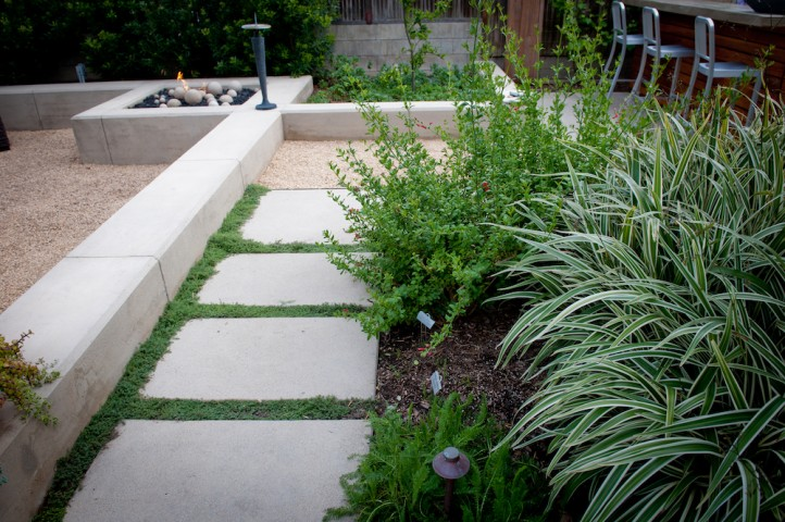 Concrete Pavers with Foliage Joints