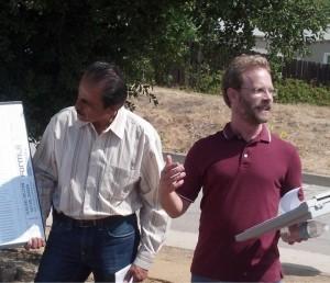 Community hero Roger Klemm dedicates the garden.